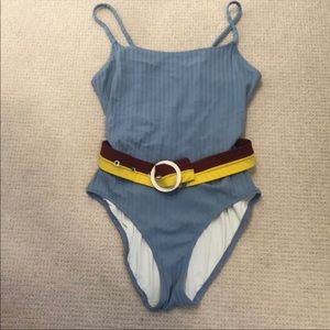 One piece belted bathing suit by Solid & Striped L